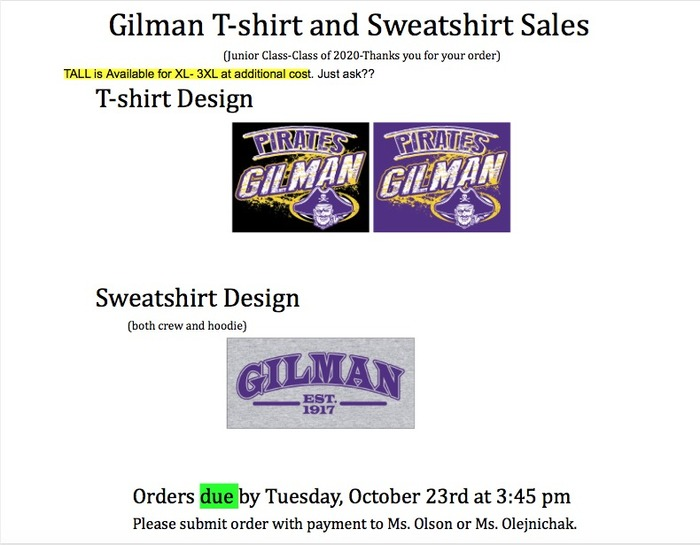Sweatshirt order forms
