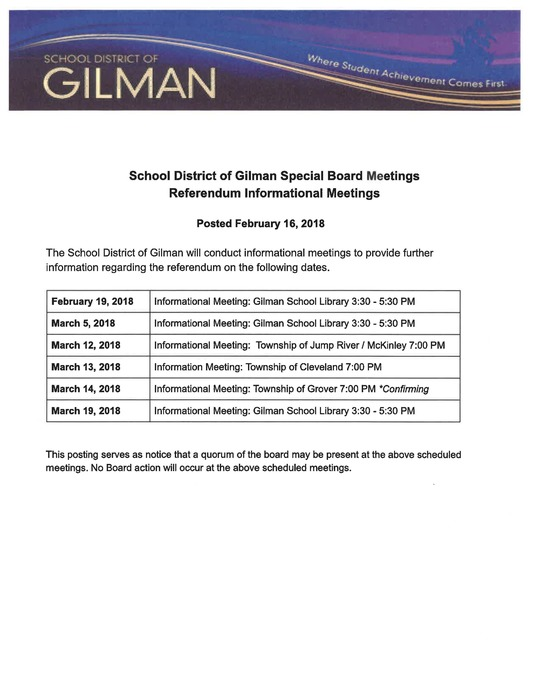 List of Referendum Informational Meetings